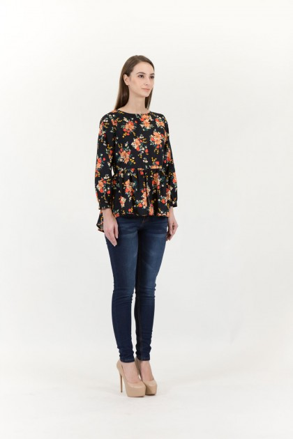 RGN BY HANZO WOMEN 3/4 SLEEVE FLORAL PRINTED FRILL BLOUSE (ROSE-PRINTED / BLOOMING FLOWER PRINTED)