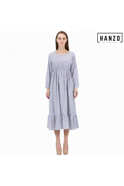 RGN BY HANZO Women Dresses Long Sleeve Floral Rayon - Brown/Black/Red/Beige/Light Blue/Pink