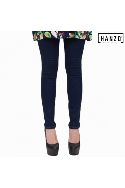 RGN BY HANZO Women Skinny Fit Long Cotton Pants - Navy Blue